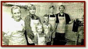 Here's a picture of the Harden crew a few years after they started. Mark's wife Evonne, sons Jesse and Blake, and daughters Allison and Megan.